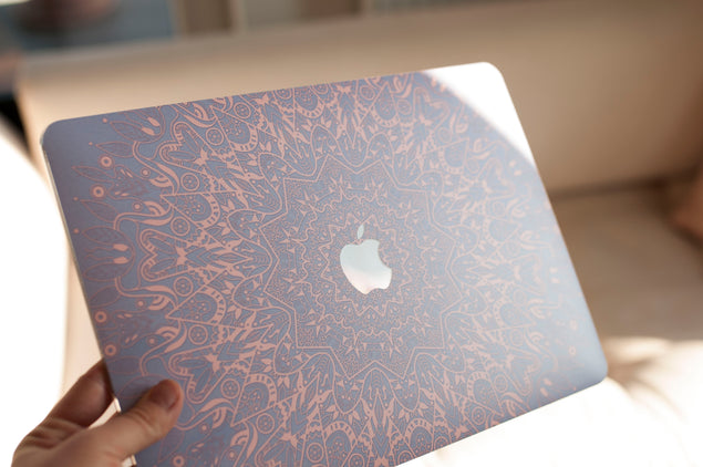 Mandala MacBook hard case in pink and purple color
