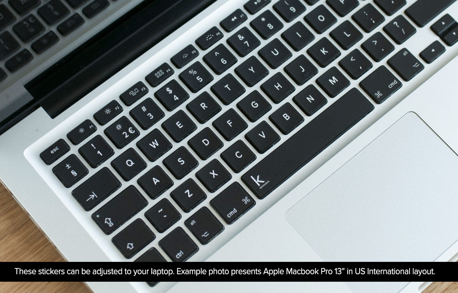 Simple black laptop keyboard decal