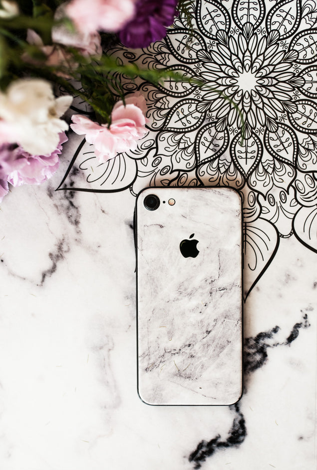 White Brushed Marble iPhone Skin