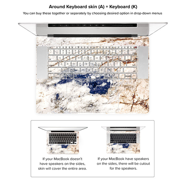 Amazing Marble MacBook Skin - around keyboard skin