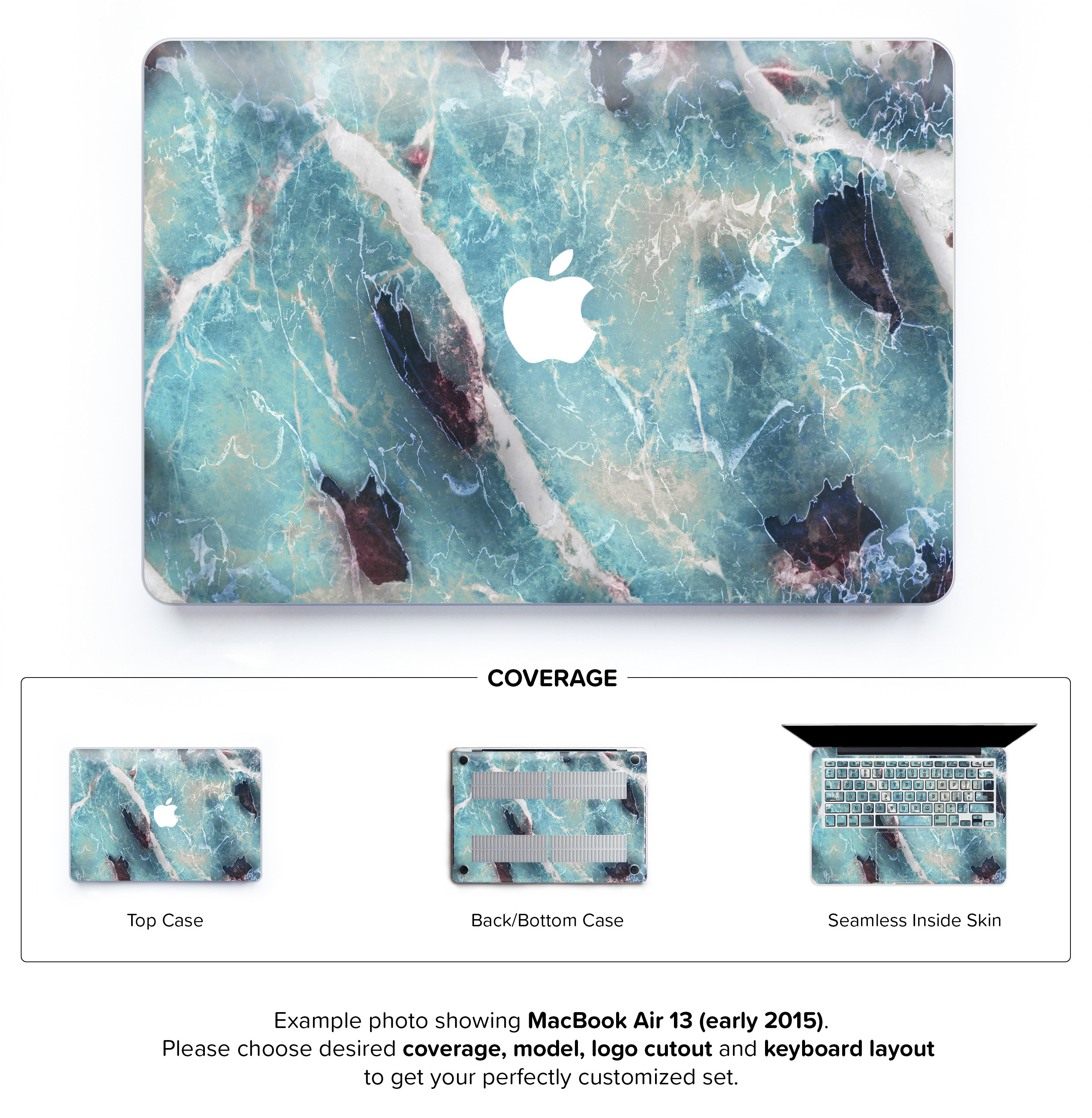 Azure Marble Hard Case For Macbook Air 13 Keyshorts