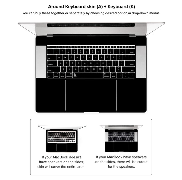 Simple Black MacBook Skin - Around keyboard skin + keyboard