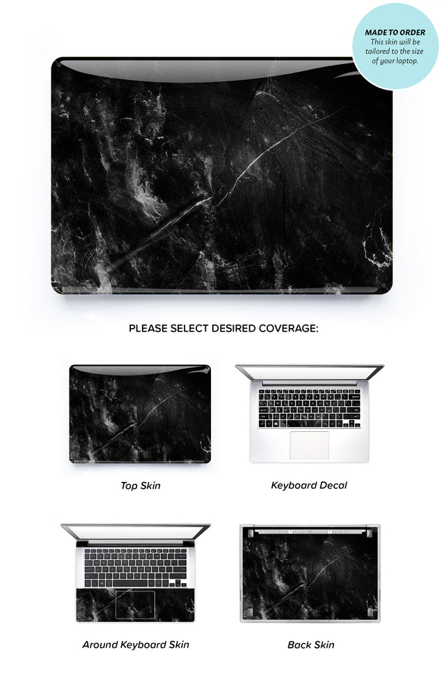 Black Selfish Marble Laptop Skin