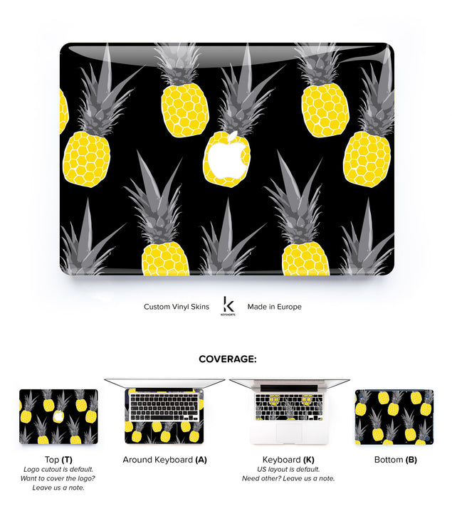 Pineapples in Gold and Black MacBook Skin at Keyshorts.com