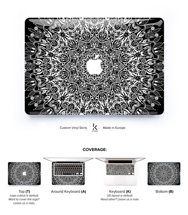 Black Mandala MacBook Skin at Keyshorts.com