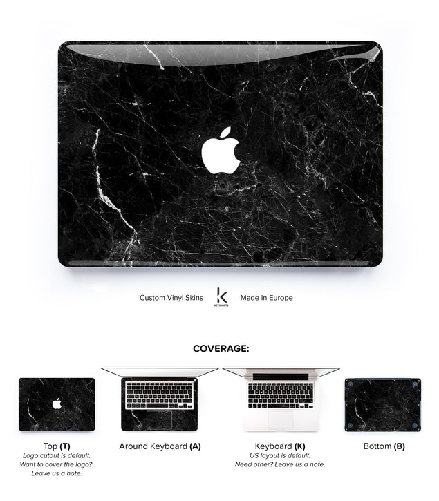 New Black Marble MacBook Skin at Keyshorts.com