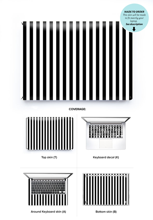 Black White Stripes Laptop Skin