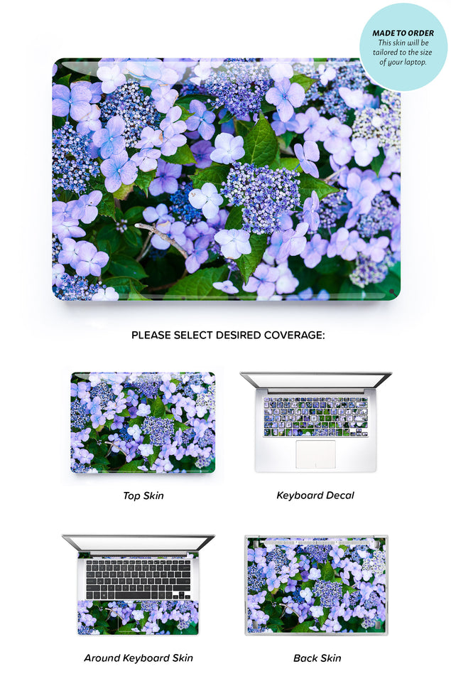 Blue Hydrangeas Laptop Skin