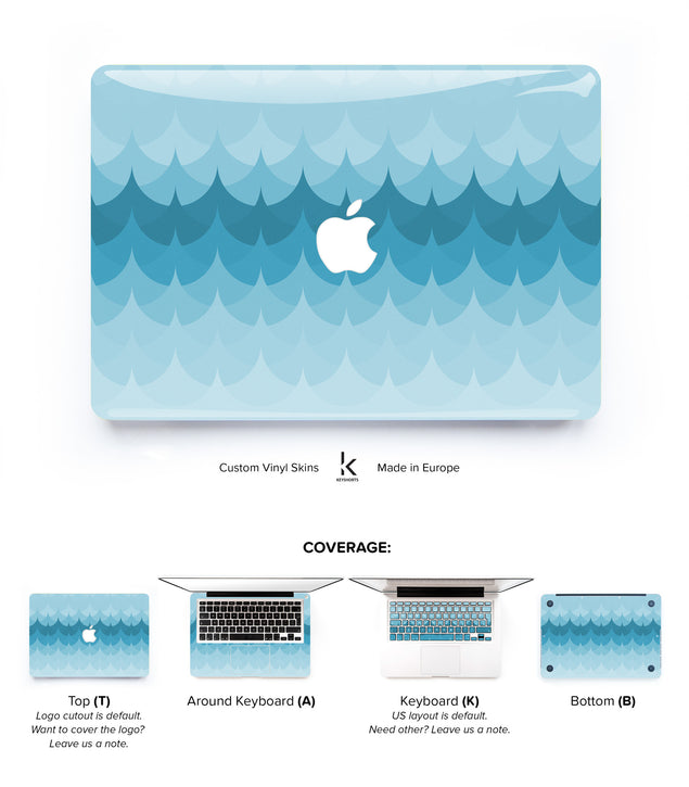 Blue Geometric Waves MacBook Skin