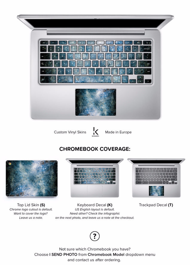 Blue Concrete Chromebook Skin at Keyshorts.com