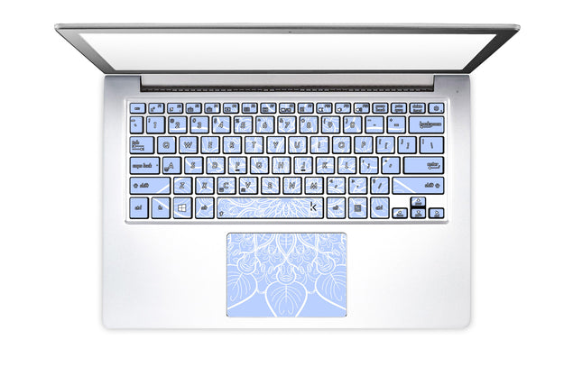 Bluish White Mandala Laptop Keyboard Stickers