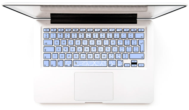 Bluish White Mandala MacBook Keyboard Stickers
