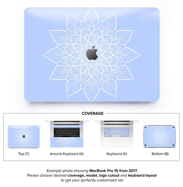 Bluish White Mandala MacBook Skin