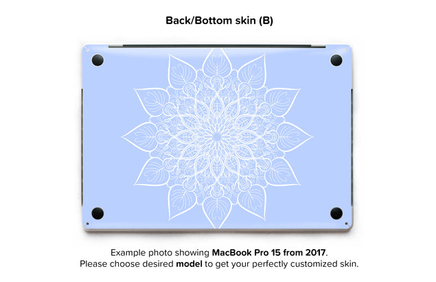 Bluish White Mandala MacBook Skin - back skin