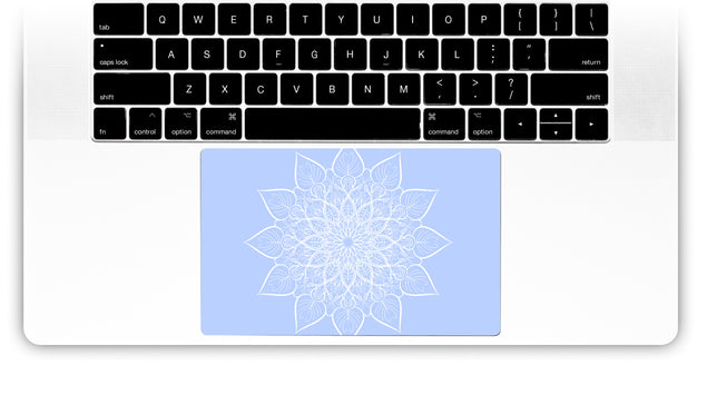 Bluish White Mandala MacBook Trackpad Sticker