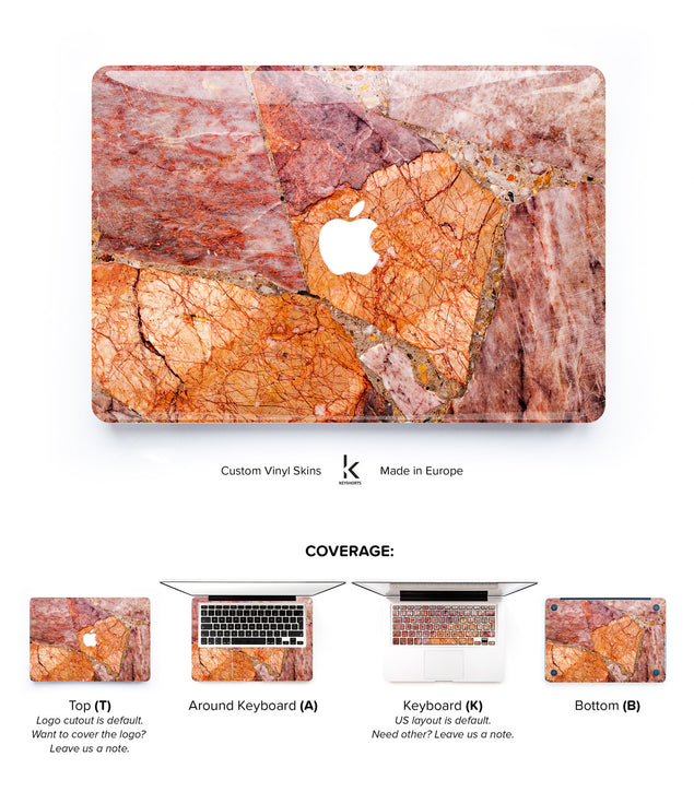 Blushy Orange Marble MacBook Skin at Keyshorts.com