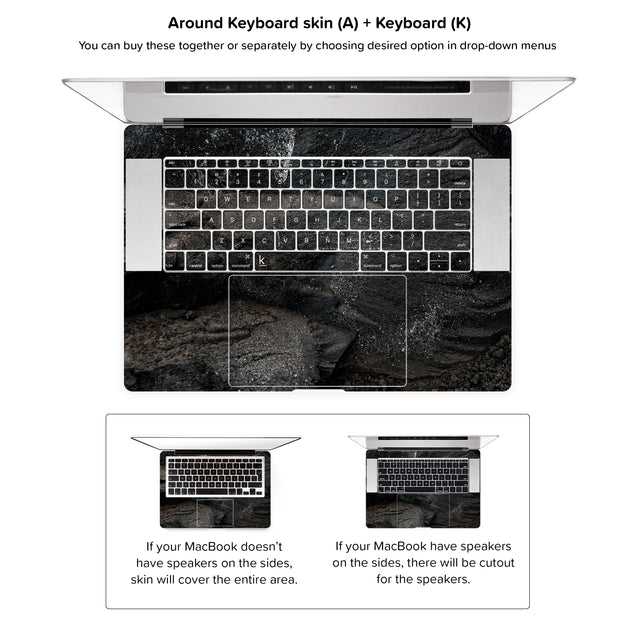 Carbon Black MacBook Skin - around keyboard skin