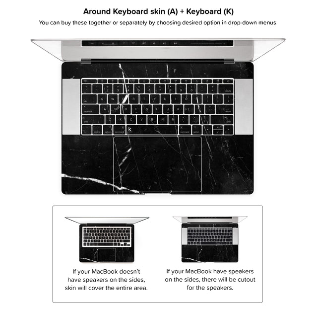 Coffee Marble MacBook Skin - around keyboard skin