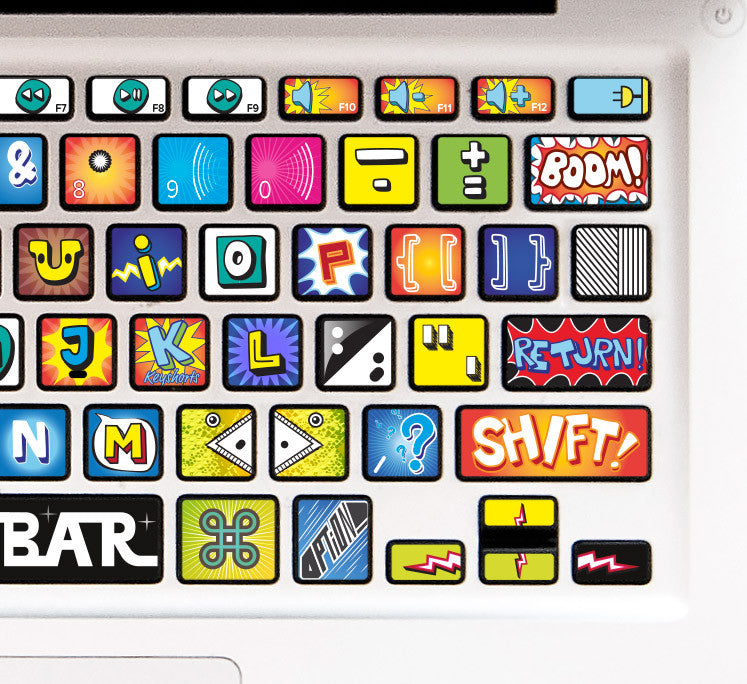 Macbook Keyboard Decal Comic Book Cartoon Keyshorts