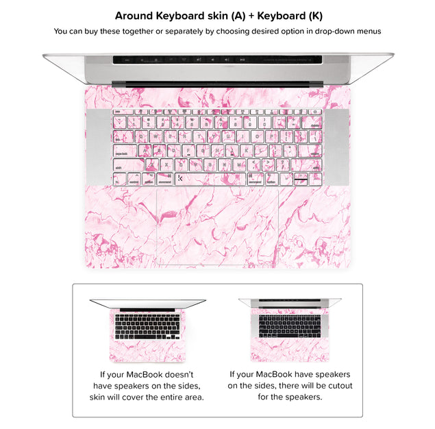 Complicated Pink MacBook Skin - around keyboard skin