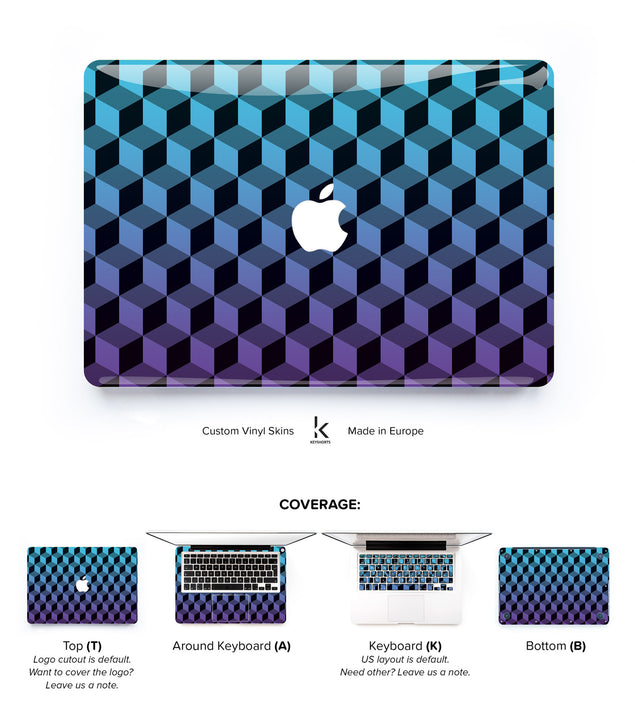 Blue Purple Cubes MacBook Skin at Keyshorts.com