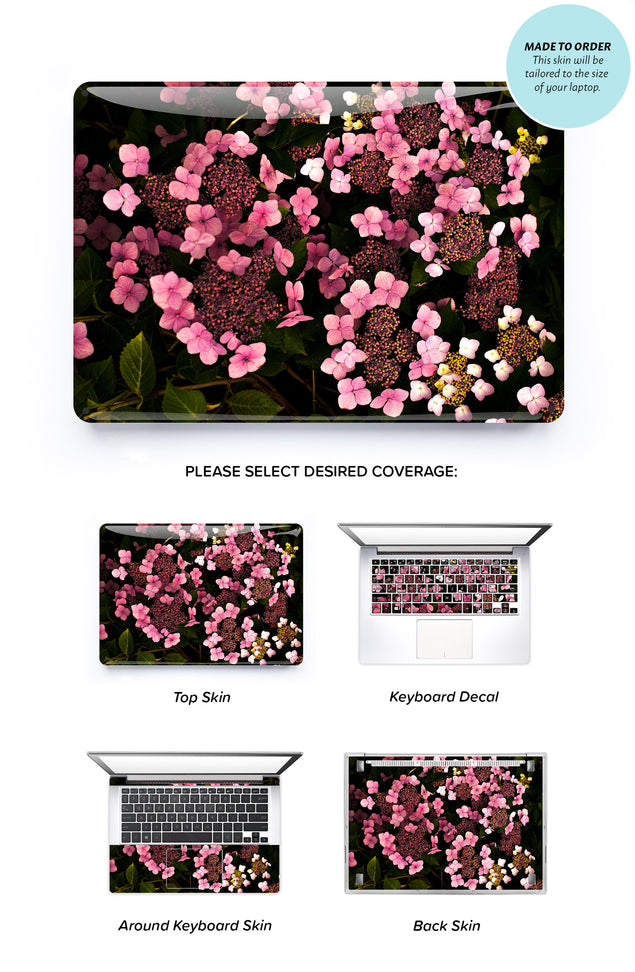 Dark Pink Hydrangeas Laptop Skin
