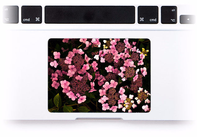 Dark Pink Hydrangeas MacBook Trackpad Sticker at Keyshorts.com