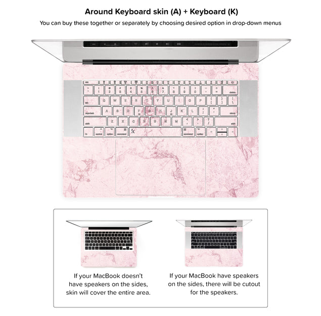 Dusty Pink Stone MacBook Skin - around keyboard skin