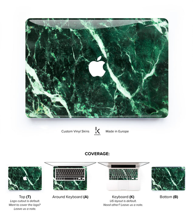 Emerald Marble MacBook Skin