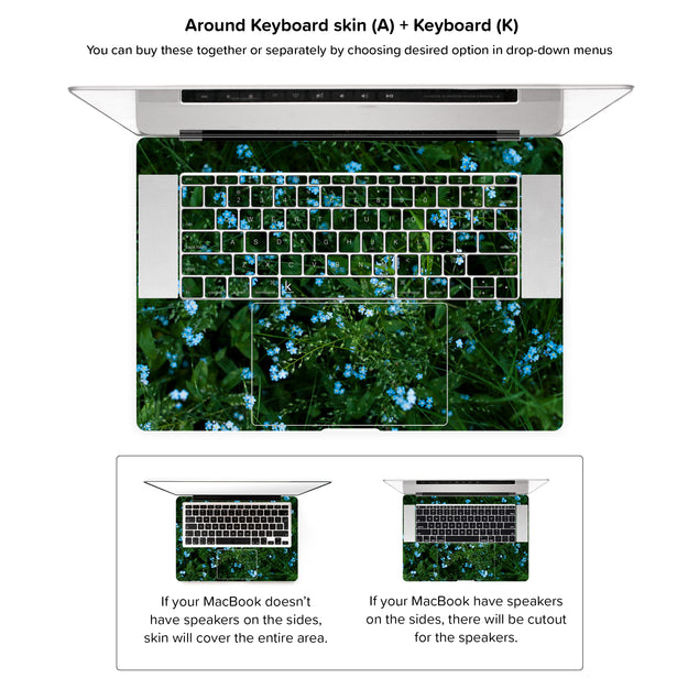 Forget Me Nots MacBook Skin - around keyboard skin