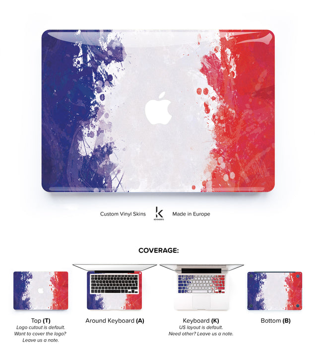 French Flag MacBook Skin at Keyshorts.com
