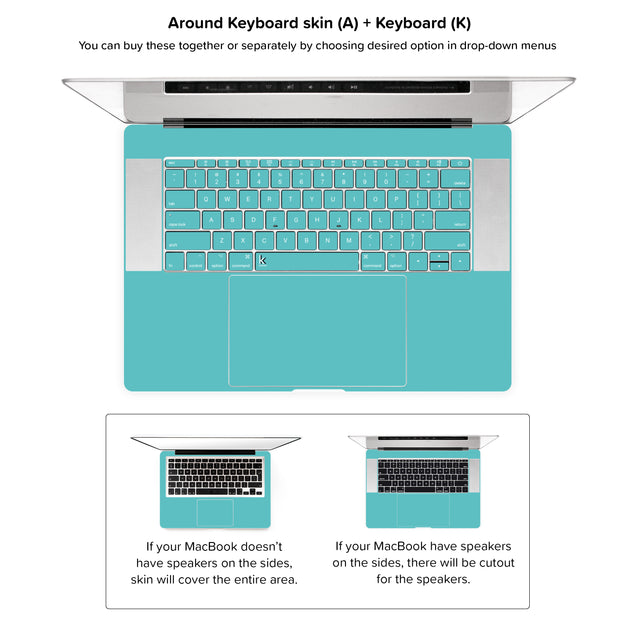 Fresh Mint MacBook Skin - around keyboard skin + keyboard stickers