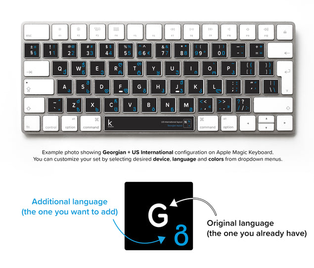 Georgian Bilingual Keyboard Stickers for Mac
