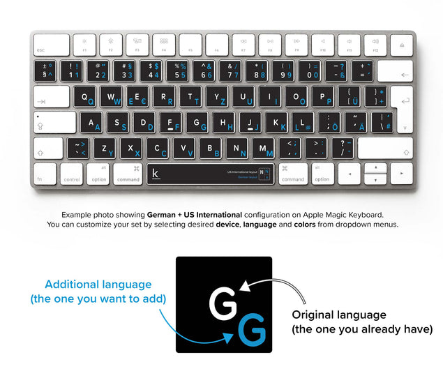 German Bilingual Keyboard Sticker