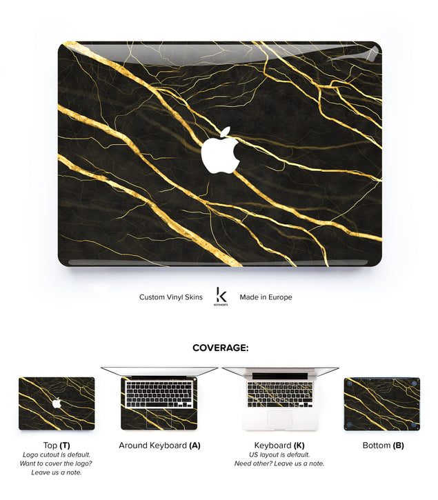 Gold Marble MacBook Skin at Keyshorts.com - 1