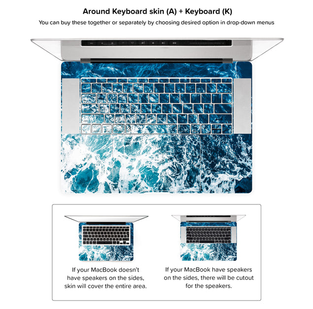 Gozo Wave MacBook Skin - around keyboard skin