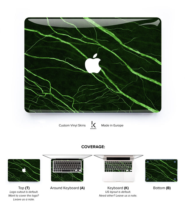 Green Veined Marble MacBook Skin at Keyshorts.com