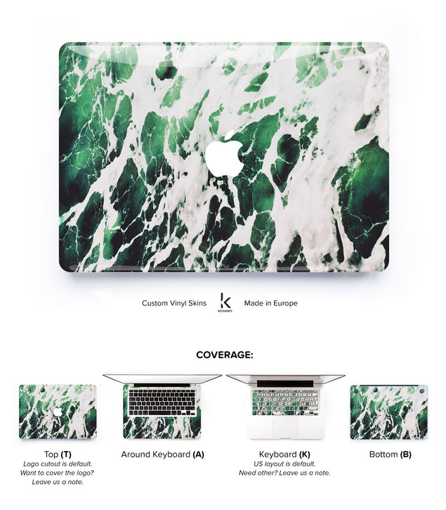 Green White Marble MacBook Skin at Keyshorts.com