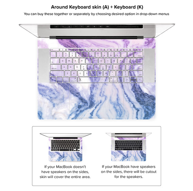 Happy Pastel Marble MacBook Skin - around keyboard skin