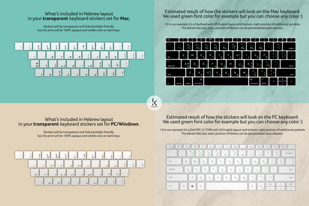 Hebrew Transparent Keyboard Stickers Reference