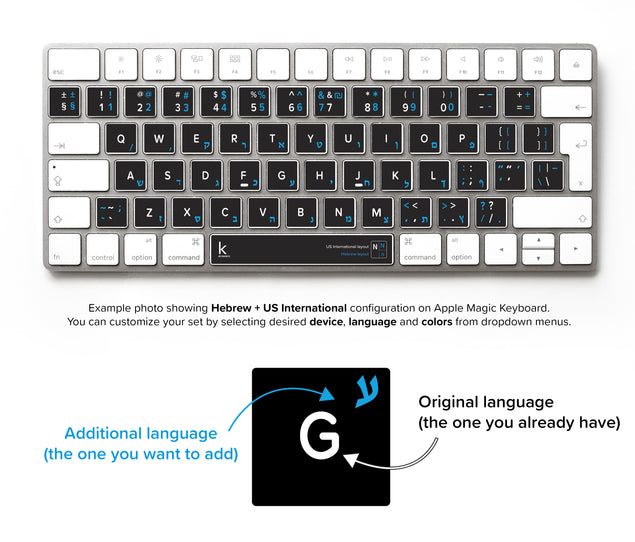Hebrew Bilingual Keyboard Sticker