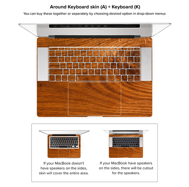 Honey Wood MacBook Skin - around keyboard skin