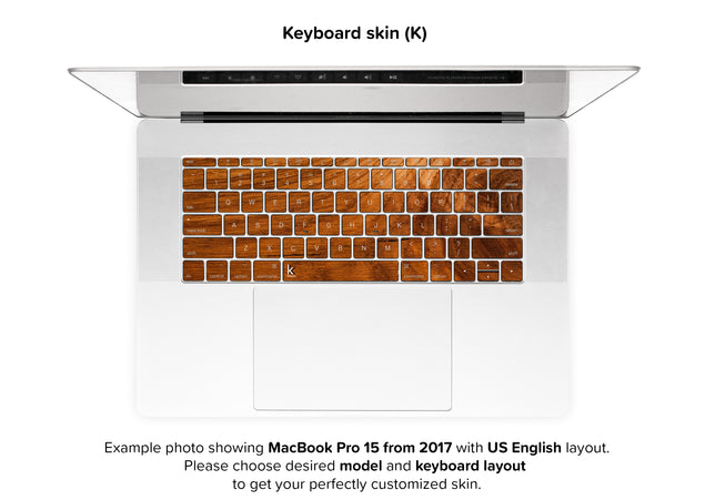 Honey Wood MacBook Skin - keyboard stickers