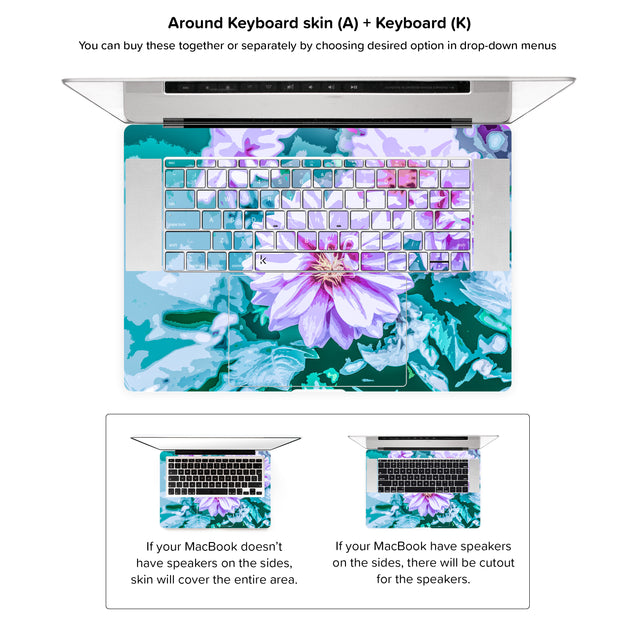 June Flowers MacBook Skin - around keyboard skin