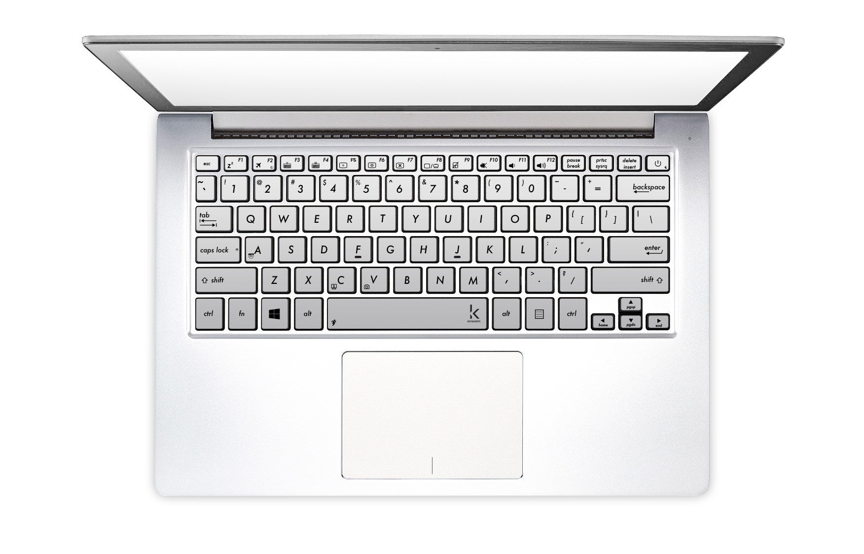 Silver metallic laptop keyboard decals | Keyshorts