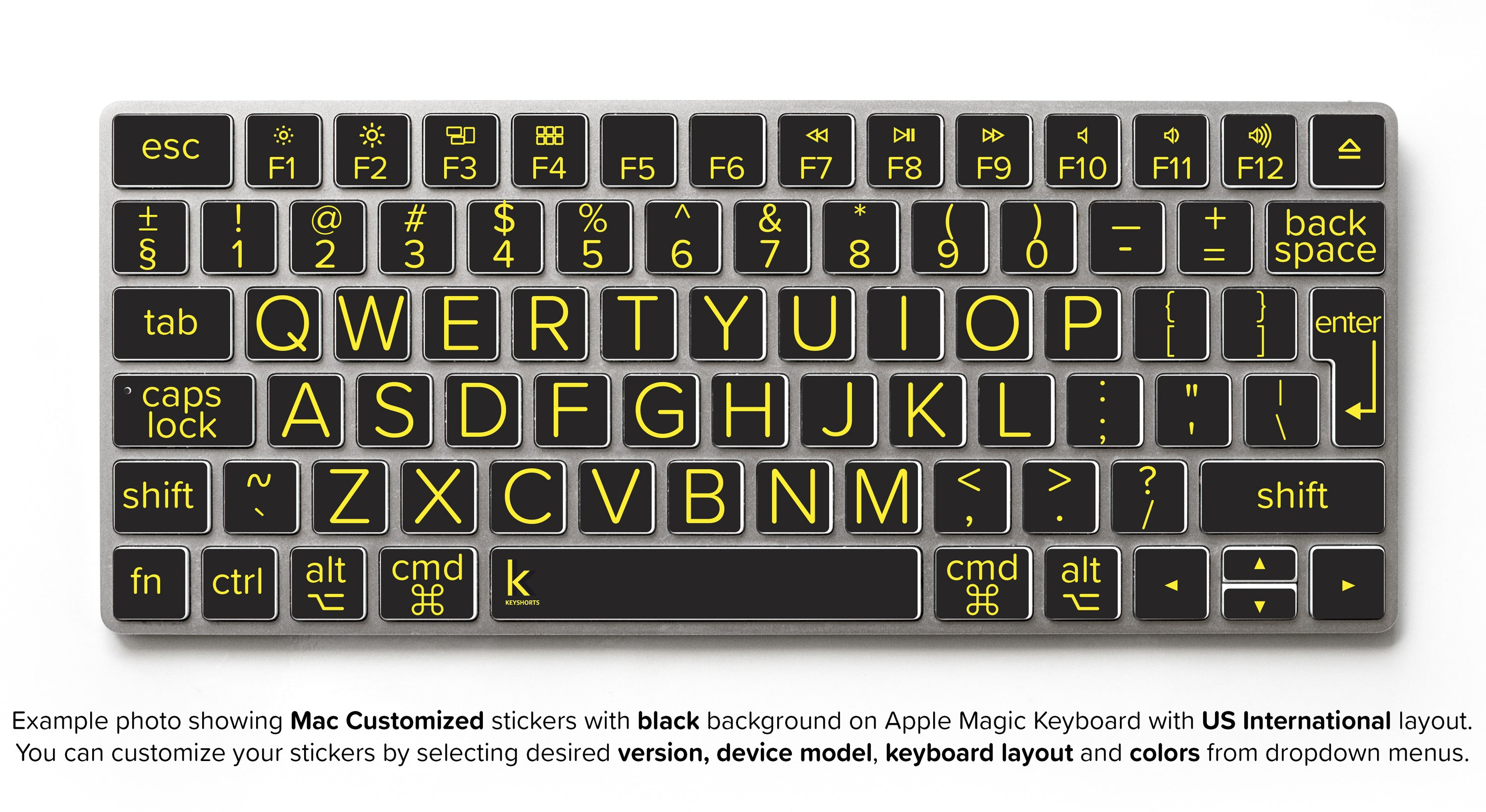 Low vision apple keyboard stickers with large print type