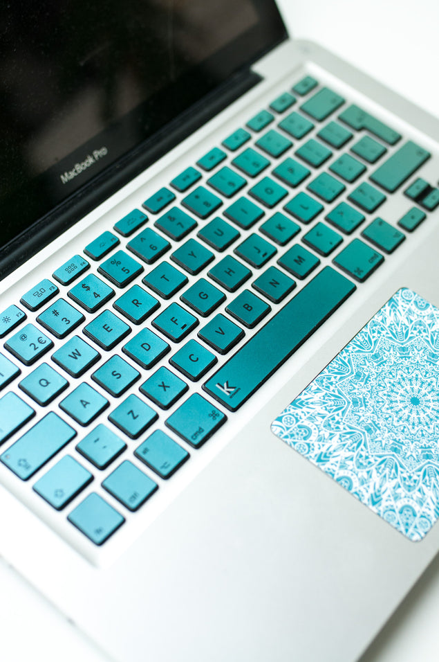 Metallic Blue Green Ombre Laptop Keyboard Decal