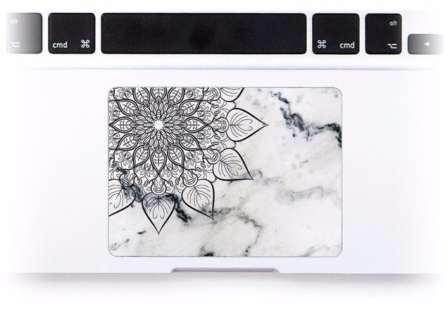 Cream Marble Mandala MacBook Trackpad Sticker at Keyshorts.com