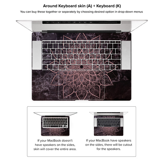 Marbleous Mandala MacBook Skin - around keyboard skin
