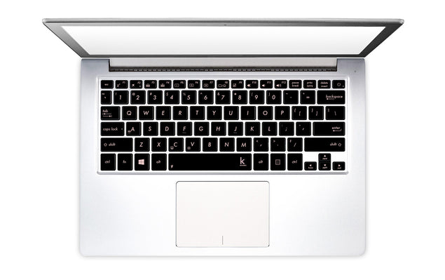 Metallic millennial pink laptop keyboard stickers